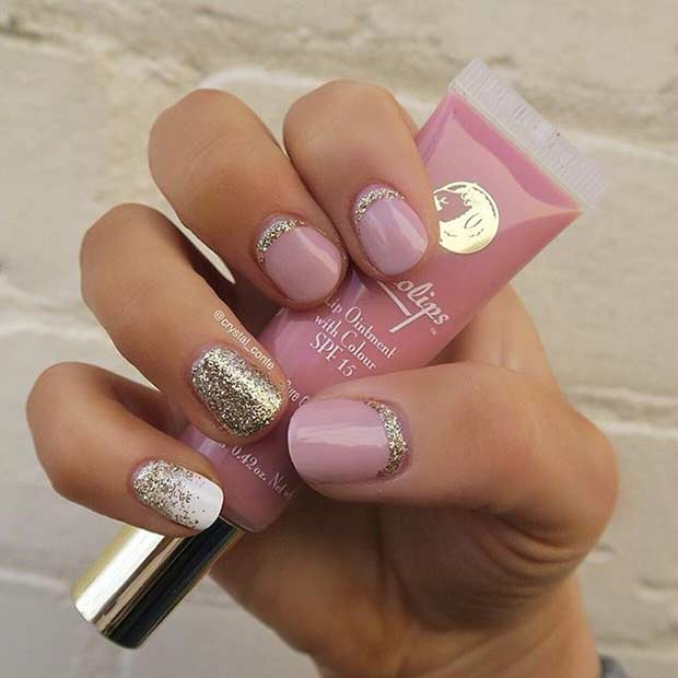 Cute Pink and Glitter Nail Design for Short Nails