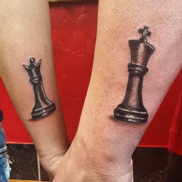 King and Queen Chess Tattoos for Couples