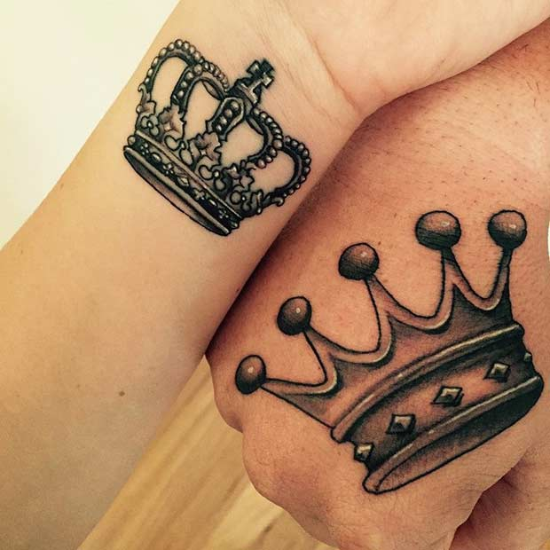 51 king and queen tattoos for couples page 3 of 5 stayglam for Pictures of crown tattoos