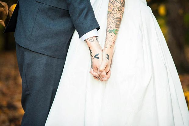Matching Arm Heart Couple Tattoos