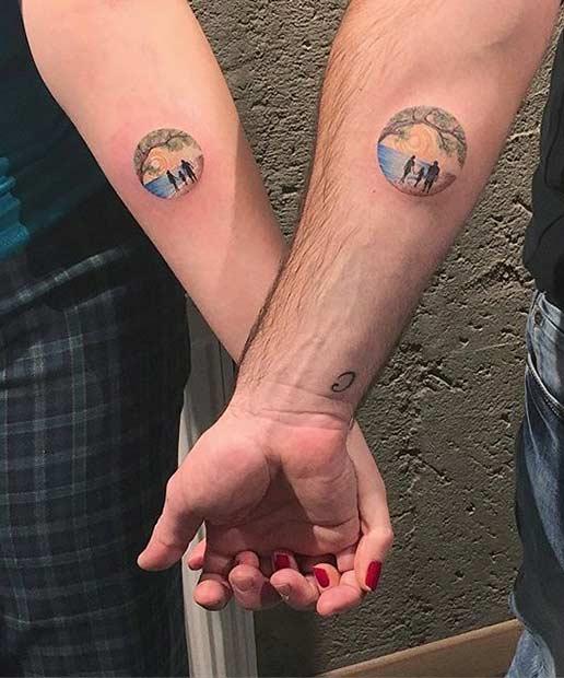 Couple Watercolor Tattoo Idea