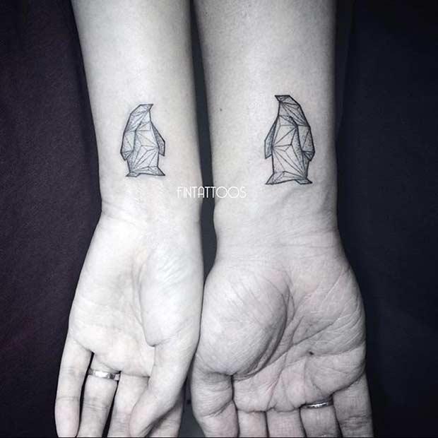 Couple Wrist Geometric Penguins Tattoos