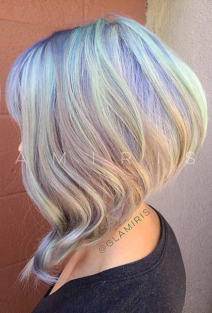 Short Pastel Inverted Bob Haircut