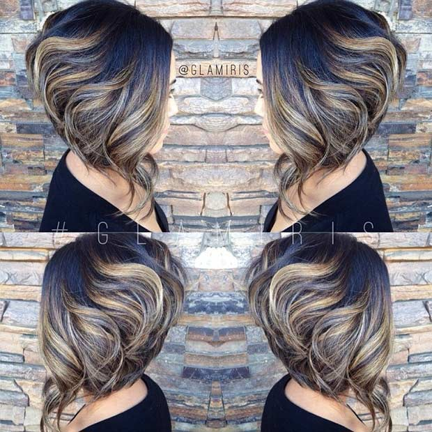 Stacked Short Inverted Bob with Highlights
