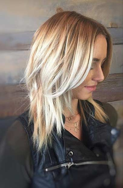 Blonde Layered Medium Haircut Idea