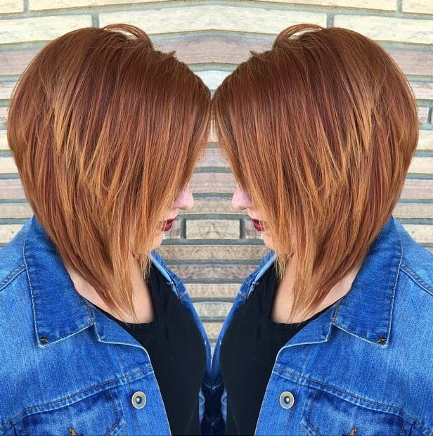 Inverted Copper Bob Haircut