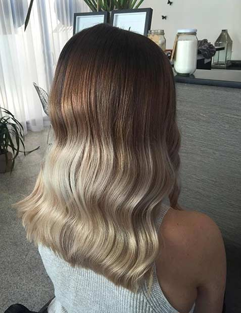 Beige Blonde Ombre on Medium Length Hair