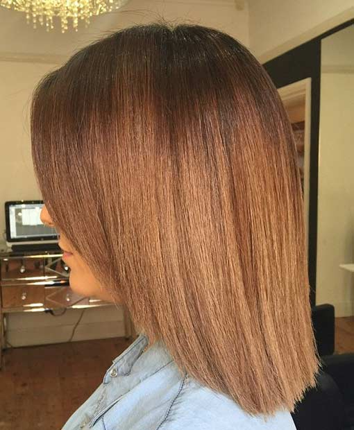 Straight Caramel Brown Medium Haircut Idea