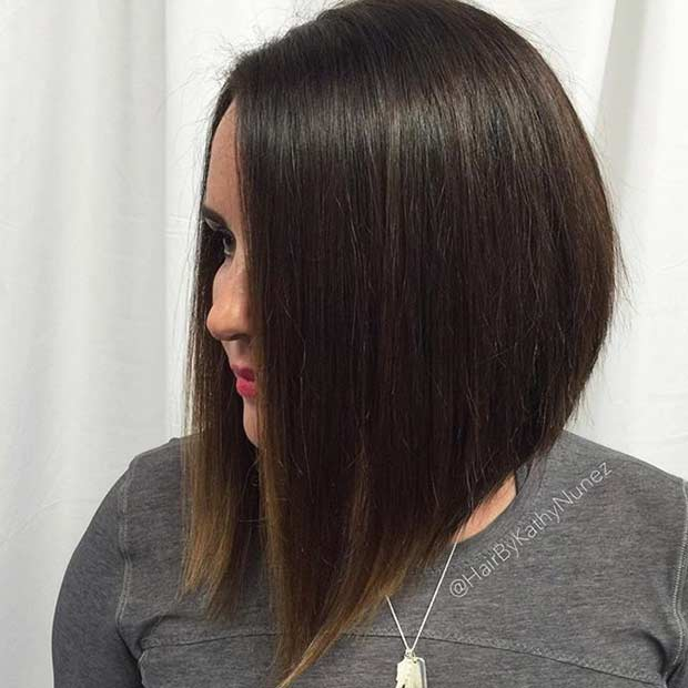Straight Long Angled Bob Haircut