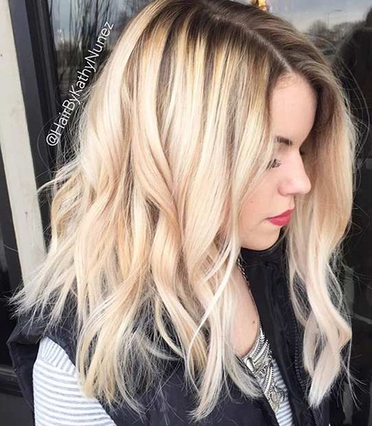 Rooty Blonde Lob Hairstyle