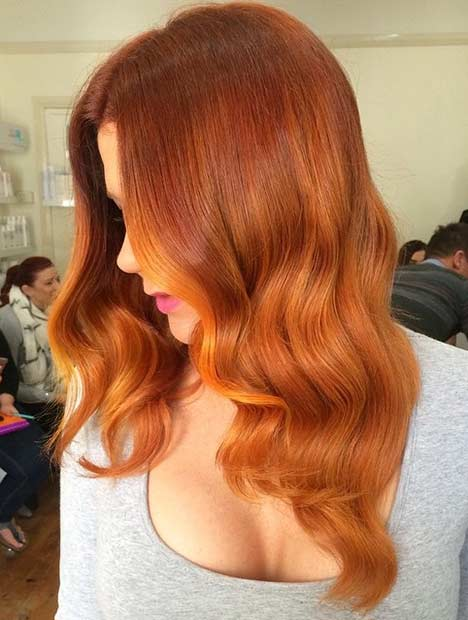 Wavy Medium Length Copper Hair