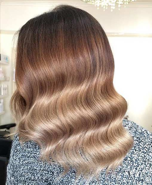 Elegant Wavy Medium Length Hairstyle