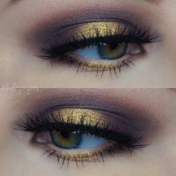 Dark Gold and Brown Smokey Eye for Green Eyes
