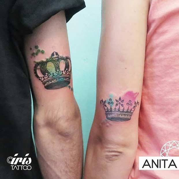 King and Queen Watercolor Tattoos for Couples