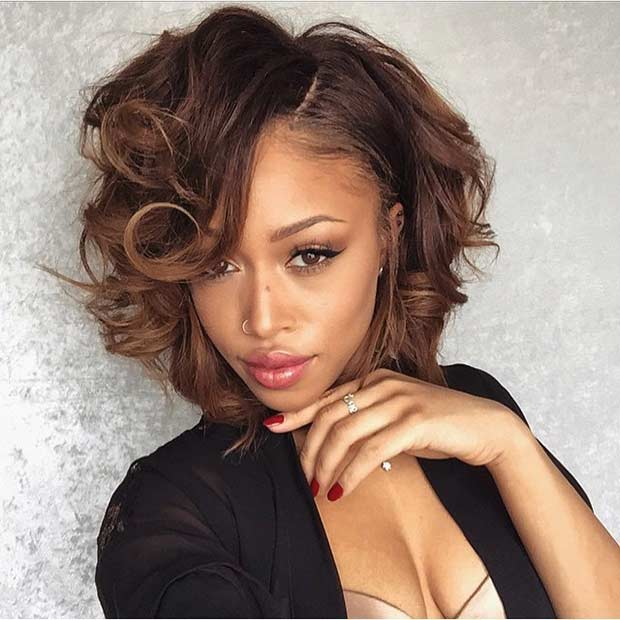 Curly Bob Hairstyle for Brunettes