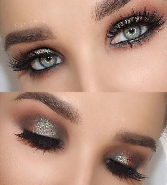 Teal Green Smokey Eye Look for Blue Eyes
