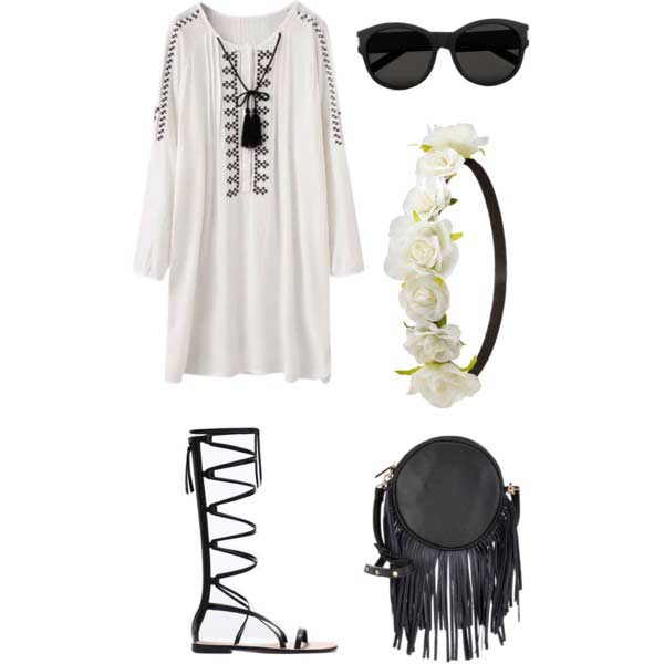 Gladiator Sandals White Dress Coachella Outfit