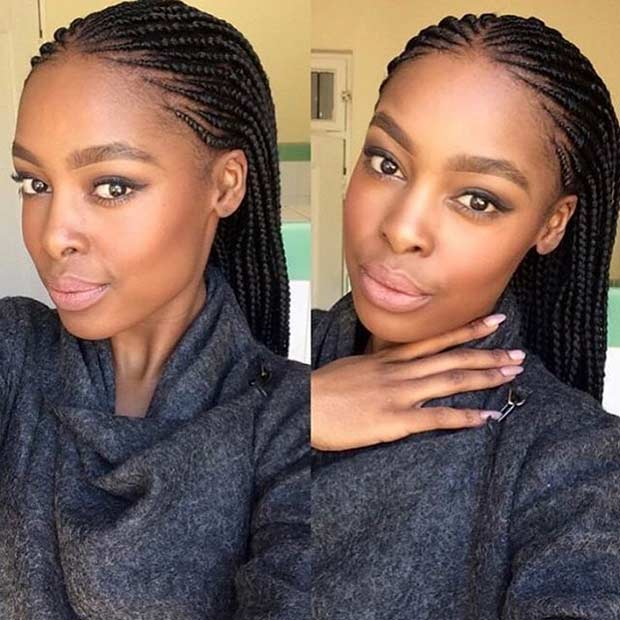 Micro Cornrows Style for Black Women