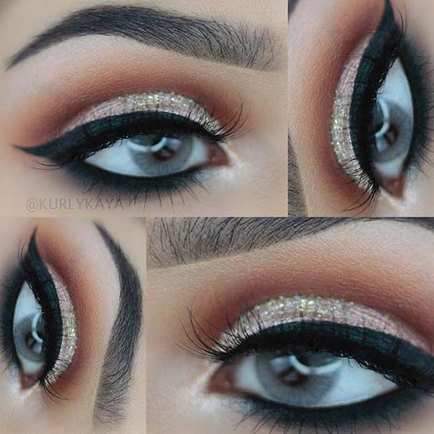 Cut Crease Eye Makeup Look for Blue Eyes