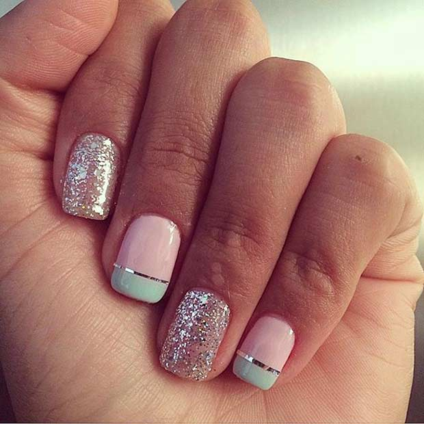 easy pastel and glitter nail design