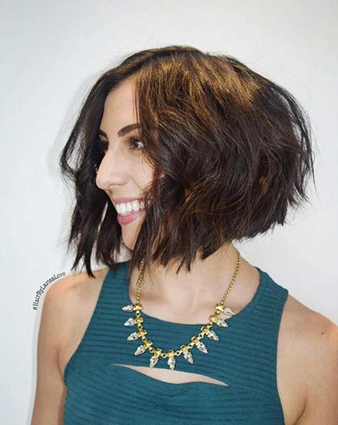 Textured Short Bob Haircut for Thick Hair