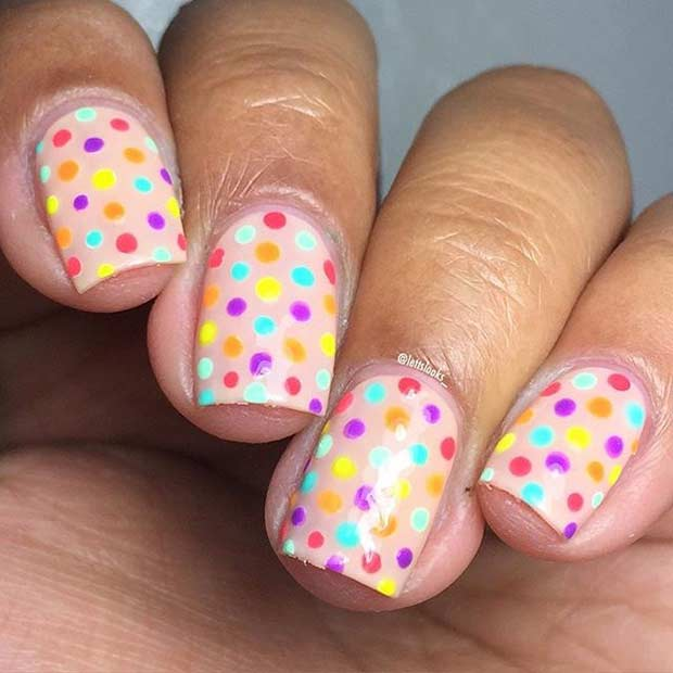 Colorful Polka Dot Nails for Spring