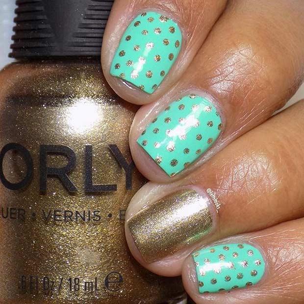 Mint and Gold Polka Dot Nails
