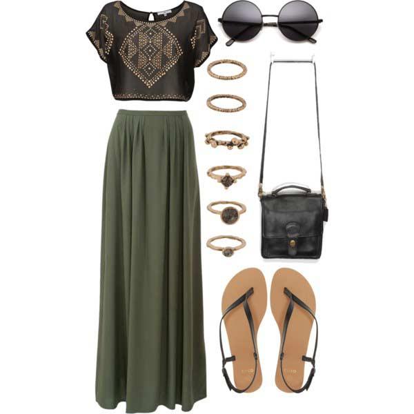 Crop Top Maxi Skirt Coachella Outfit Idea
