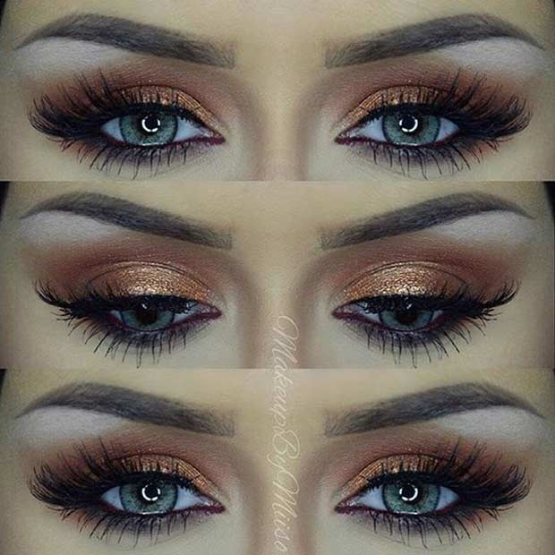 Dark Gold Smokey Eye for Blue Eyes