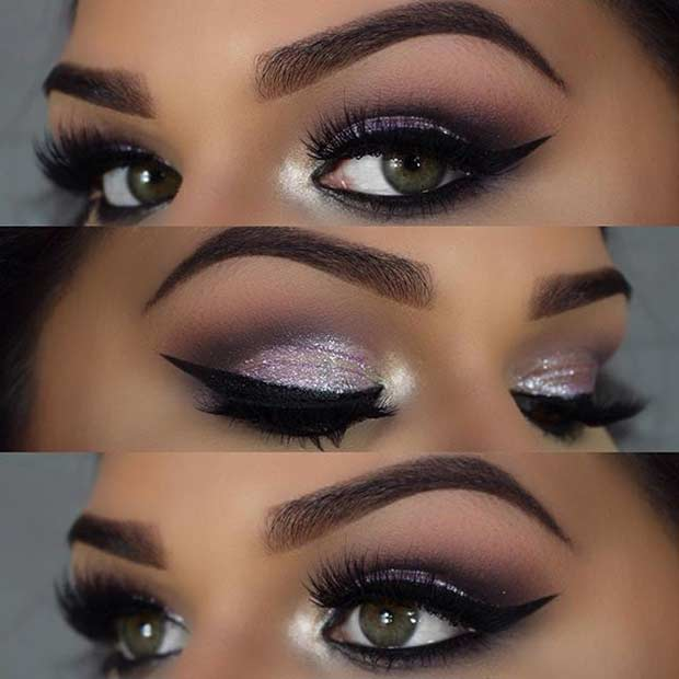 Glamorous Light Purple Eye Makeup Look for Green Eyes
