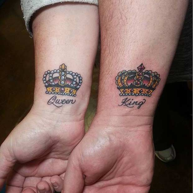 Colorful King and Queen Wrist Tattoos