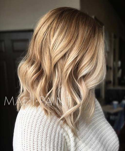 Wavy Blonde Shoulder Length Bob Haircut