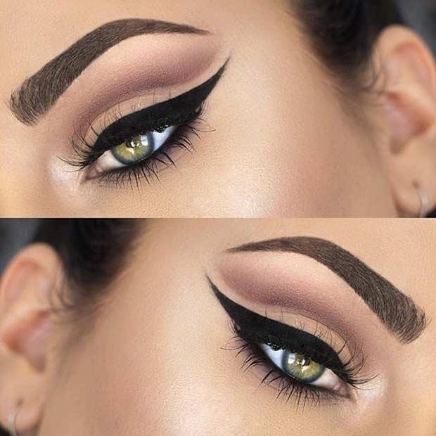 Smokey Brown Cut Crease Wedding Eye Makeup Look