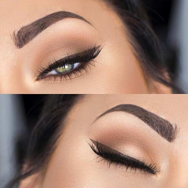 Brown Winged Liner Makeup Look