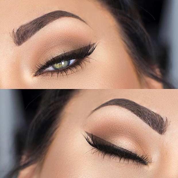 Brown Winged Liner Makeup Look