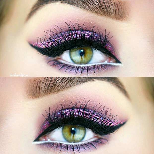 Purple Glitter Eye Makeup Look for Green Eyes