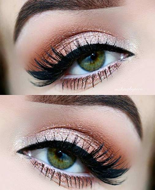 Champagne Orange Eye Makeup Look for Green Eyes