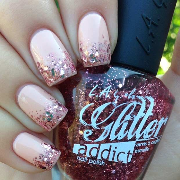 Rose Gold Glitter Ombre Nail Design - 55 Super Easy Nail Designs Page 4 Of 6 StayGlam