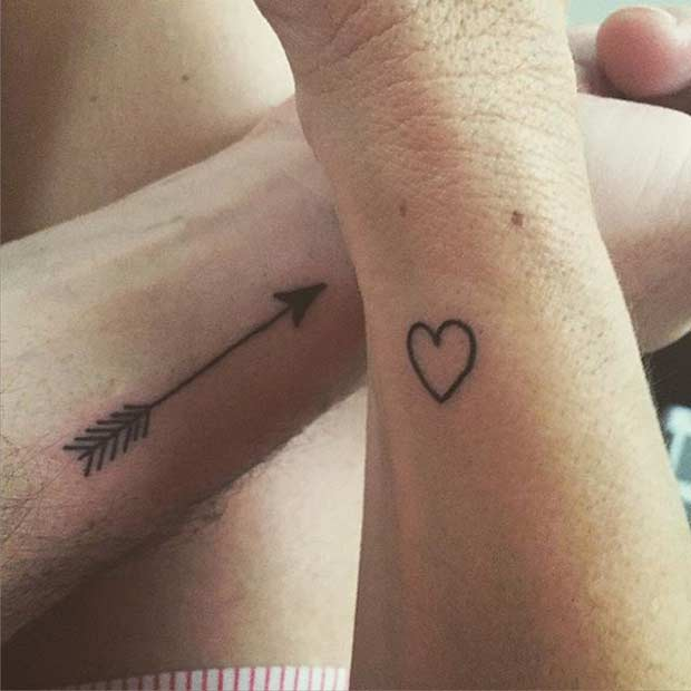 Couple Heart Arrow Matching Hand Tattoos