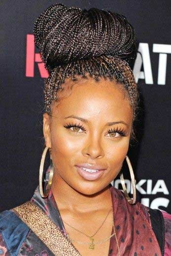 Micro Braids Into a Loose High Bun