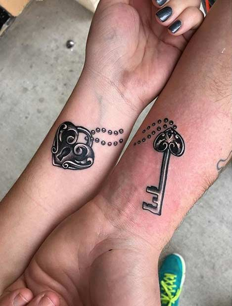 Lock and Key Arm Tattoos for Couples