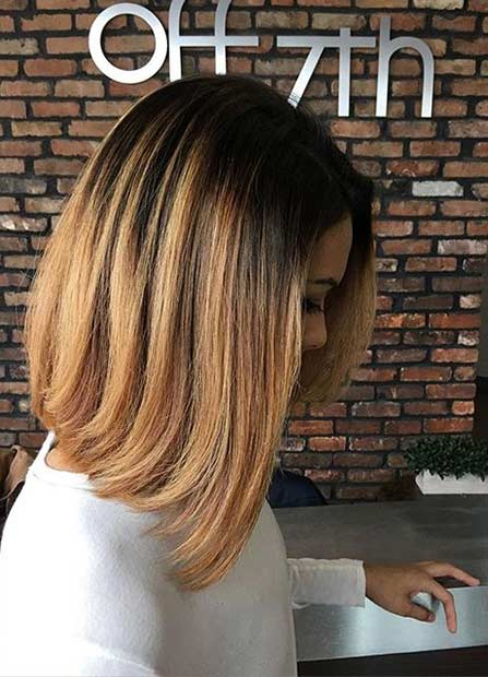 Gold Caramel Medium Length Hair Cut