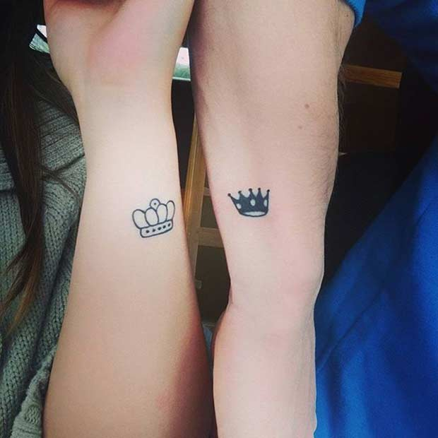 Small King and Queen Tattoos for Couples