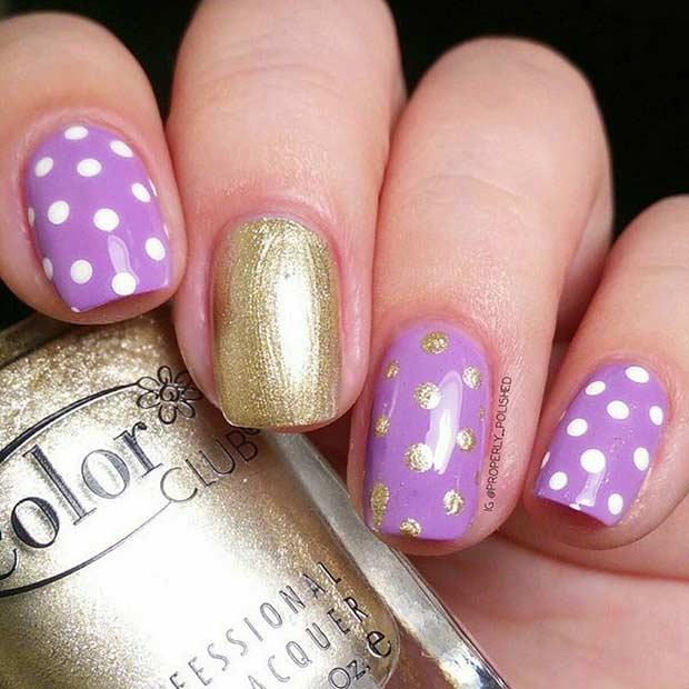 Purple and Gold Polka Dots Nail Design