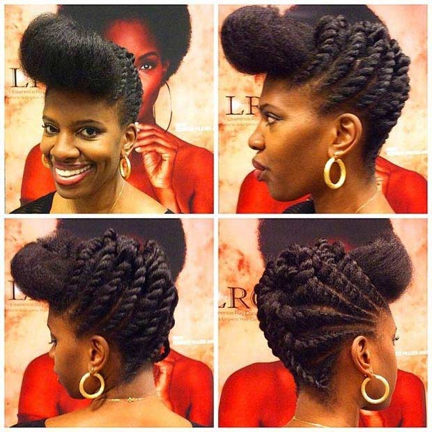 Flat Twists Pompadour Updo Hairstyle