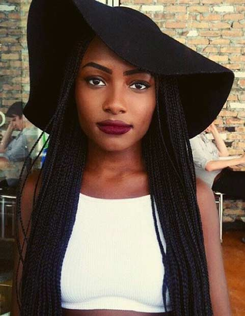 Black Micro Braids Style