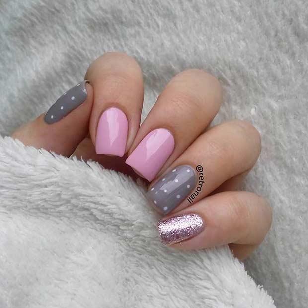 Маникюр фото серый розовый