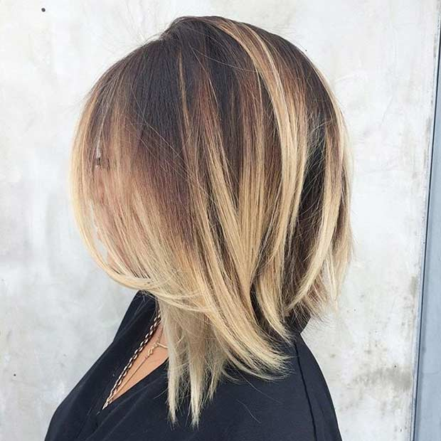 Layered Bob Cut Blonde Balayage Highlights Shoulder Length