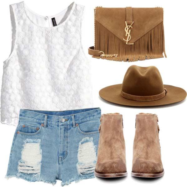 Denim Shorts White Top Coachella Outfit