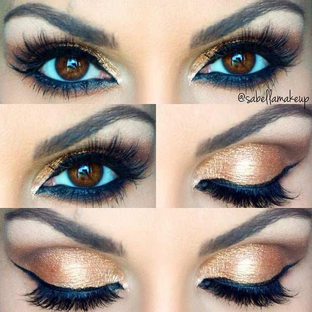 Gold Eye Makeup look for Brown Eyes